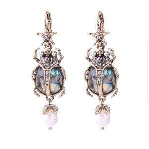 Jewelry - Crystal Beetle Embellished Statement Earrings